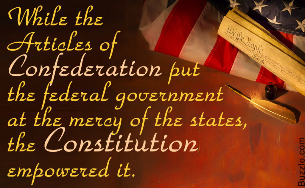 Difference between Articles of Confederation and Constitution